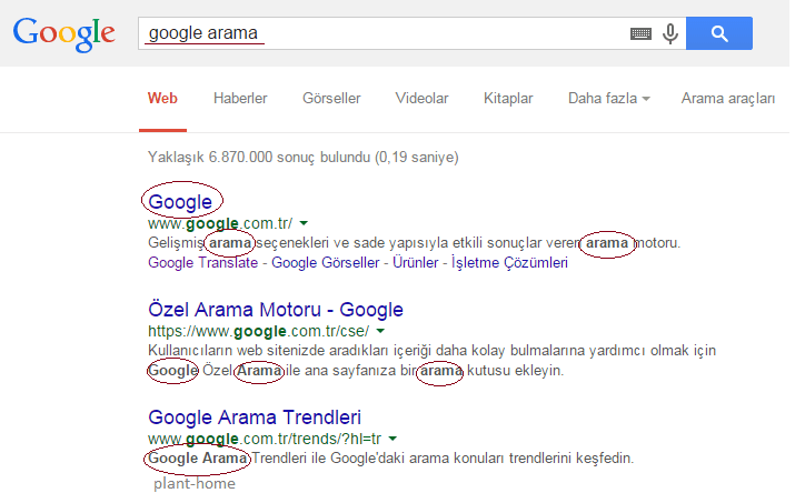 google arama sıralama